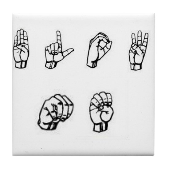 BLOW ME~ FUNNY ASL SIGN LANGUAGE Tile Coaster By Listing
