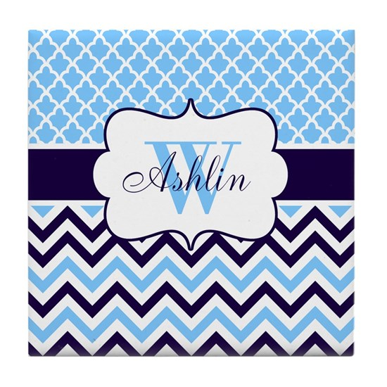 Navy Blue Chevron Quatrefoil Personalized