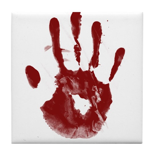Bloody Handprint Tile Coaster