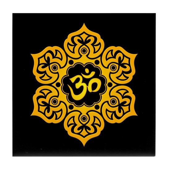 Yellow And Black Lotus Flower Yoga Om Tile Coaster By Art And Design