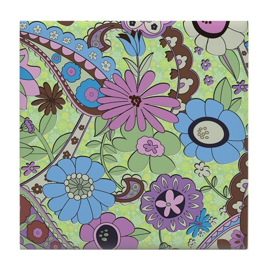 Colorful Retro Flowers And Paisley Pattern