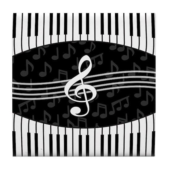 d1824d331c01 Stylish designer piano and music notes Tile Coaste