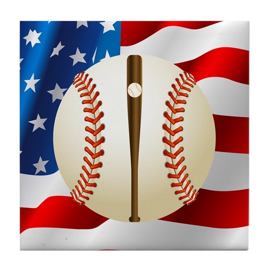 Baseball Ball On American Flag