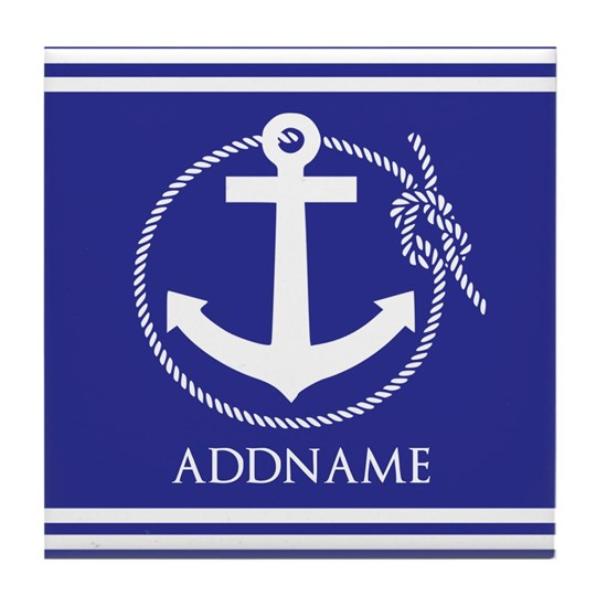 Blue Nautical Rope and Anchor Personalized