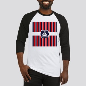 Nautical Sailboat Red | Blue Strip Baseball Jersey