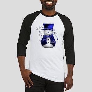 ab7f0262 Cute Snowman in Blue Velvet Baseball Jersey