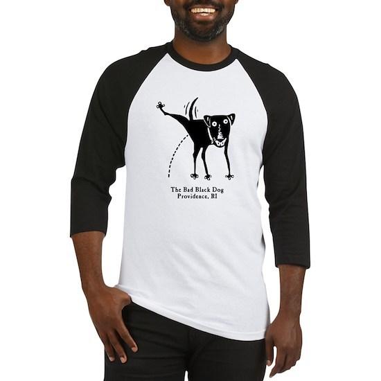 56a3d127f3d9 The Bad Black Dog Tshirt art copy Baseball Tee The Bad Black Dog ...