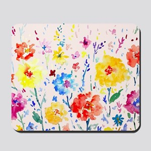 Watercolor Abstract Poppy Blue Backgroun Mousepad