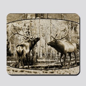 Bull elk face off Mousepad