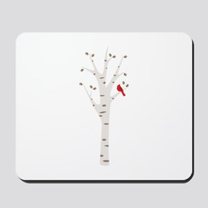 Winter Birch Tree Cardinal Bird Mousepad