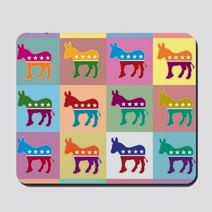Pop Art Democrat Donkey Logo Mousepad
