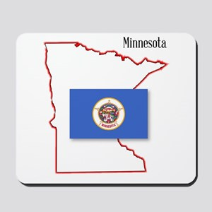 Minnesota State Map and Flag Mousepad