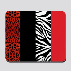 Red Leopard and Zebra Animal Print Mousepad