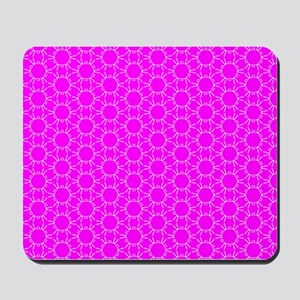 Fuchsia Pink Floral Doodle Pattern Mousepad