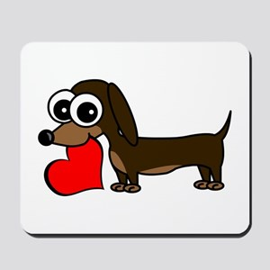 Cute Dachshund with Heart Mousepad