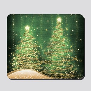 Sparkling Christmas Trees Green Mousepad