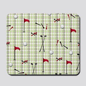 Hole in One Golf Equipment on Plaid Mousepad