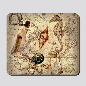 nautical seashells vintage map Mousepad