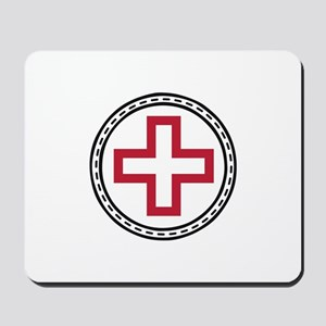 Circled Red Cross Mousepad
