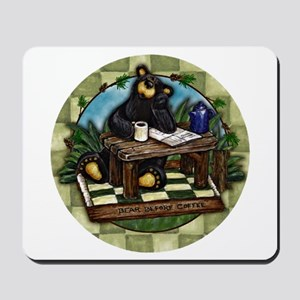 Coffee Drinking Bear Mousepad