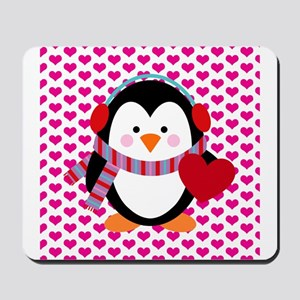 Valentines Day Penguin Mousepad