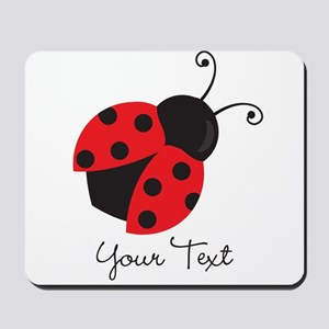 Red and Black Ladybug; Kid's, Girl's Mousepad