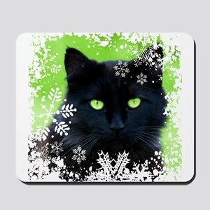BLACK CAT & SNOWFLAKES Mousepad