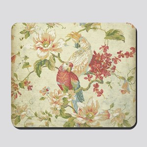 Beautiful vintage floral bird. Mousepad