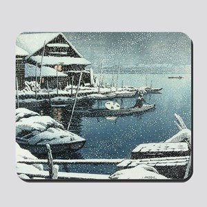 Vintage Japanese Boats in Winter Mousepad