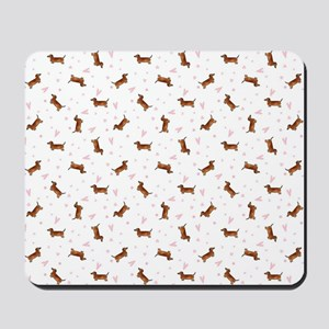 Dachshund Pattern - Hearts Mousepad