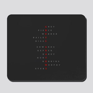 Grey's Horizontal Character Names Mousepad