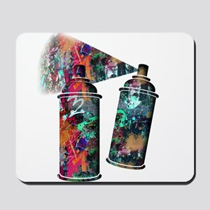 Graffiti and Paint Splatter Spray Cans Mousepad