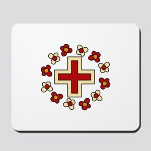 Floral Red Cross Mousepad