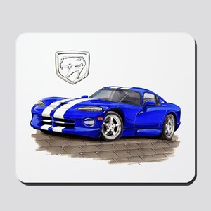 Viper Blue/White Car Mousepad