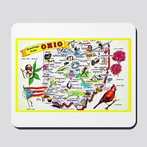 Ohio Map Greetings Mousepad