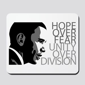 Obama - Hope Over Division - Grey Mousepad