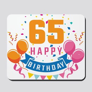 65th Birthday Balloon Banner Confetti Fu Mousepad