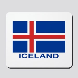 Icelandic Flag (labeled) Mousepad