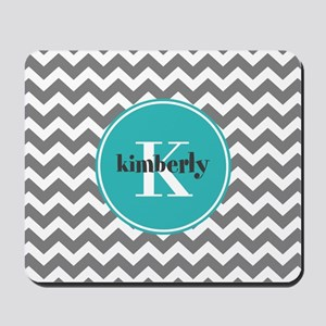 Gray Chevron with Teal Monogram Mousepad