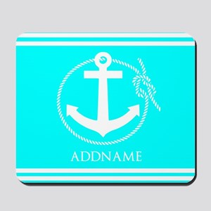 Aqua and White Anchor Personalized Mousepad