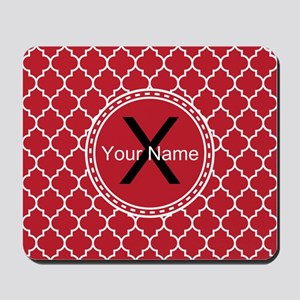 Custom Name And Initial Red Quatrefoil Mousepad
