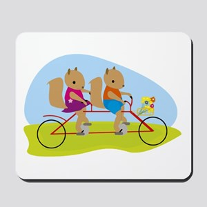 Squirrels on a Tandem Bike Mousepad