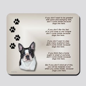 Boston Terrier Dogs Live Here Mousepad
