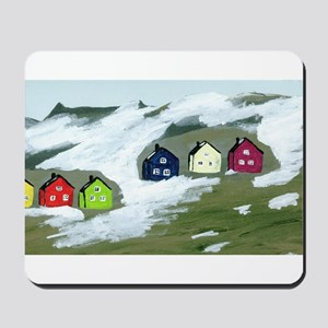 Colorful Winter Houses Mousepad