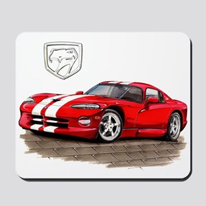Viper Red/White Car Mousepad