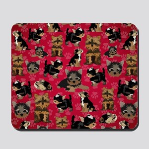 Yorkies (Red Paws) Mousepad