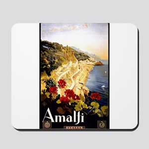 Antique Italy Amalfi Coast Travel Poster Mousepad