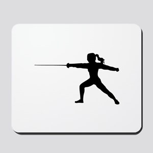 Girl Fencer Lunging Mousepad