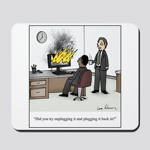 Unplug and Plug Back in Cartoon Mousepad