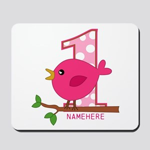 Custom Name Pink Birdie Mousepad